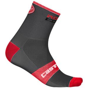 Castelli Rosso Corsa 6 ソックス- Anthracite/Red