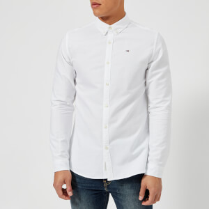Tommy Jeans Men's Basic Solid Long Sleeve Shirt - Classic White