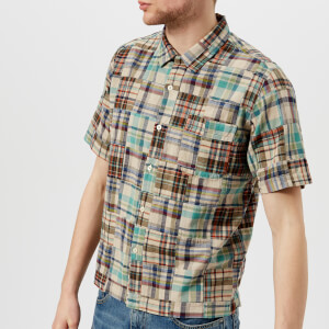 Universal Works Men's Patchwork Check Camp Collar Short Sleeve Shirt - Patchwork Olive