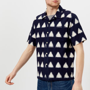 Universal Works Men's Ikat Arrow Short Sleeve Camp Collar Shirt - Navy