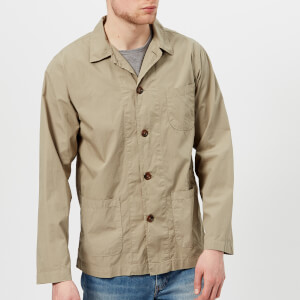 Universal Works Men's Poplin Bakers Overshirt - Warm Stone