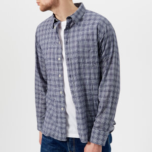 Universal Works Men's Alex Fine Check Long Sleeve Shirt - Navy