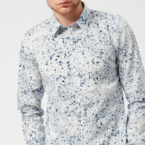 PS by Paul Smith Men's Long Sleeve Splatter Print Shirt - White