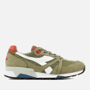 Diadora Men's N9000 Heritage 'Made in Italy' Premium Leather Trainers - Dried Herb/Paprika