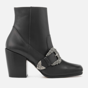 Coach Women's Western Buckle Heeled Boots - Black