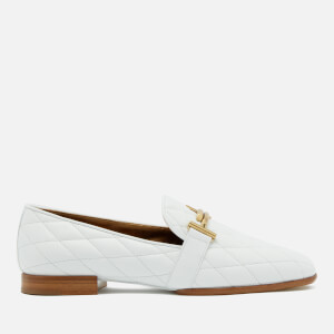 Tod's Women's Quilted Leather T Logo Slippers - White