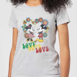 Disney Mickey Mouse Hippie Love Frauen T-Shirt - Grau