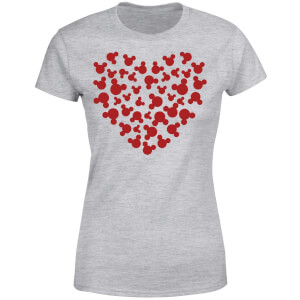 Disney Mickey Mouse Heart Silhouette Women's T-Shirt - Grey