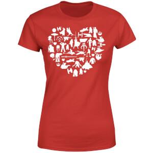 T-Shirt Femme Collage Cœur (Star Wars) - Rouge