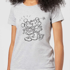 Disney Mickey Mouse Kissing Sketch Women's T-Shirt - Grey