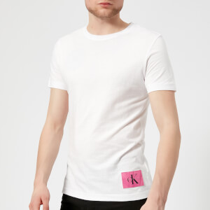 Calvin Klein Jeans Men's Takoda Patch Logo Crew Neck T-Shirt - Bright White/Wild Orchid