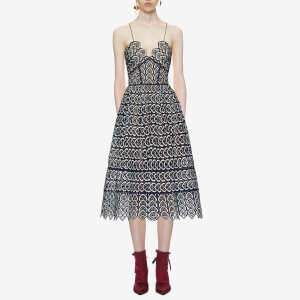 Self-Portrait Women's Sweetheart Azaelea Dress - Navy/White