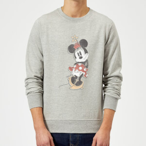 Disney Mickey Mouse Minnie Mouse Offset Sweatshirt - Grey