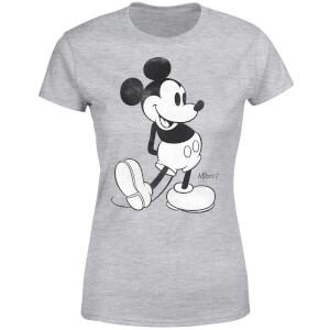 Disney Mickey Mouse Classic Kick B&W Women's T-Shirt - Grey