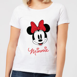 Disney Mickey Mouse Minnie Face Frauen T-Shirt - Weiß