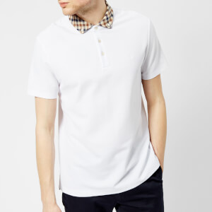 Aquascutum Men's Coniston CC Collar Short Sleeve Polo Shirt - White