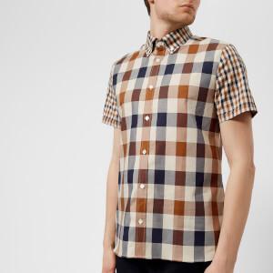 Aquascutum Men's Dart Mixed CC Check Short Sleeve Shirt - Vicuna