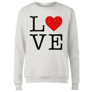 Love Heart Textured Women's Sweatshirt - White