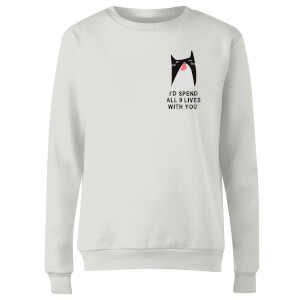 I'd Spend All 9 Lives With You Frauen Pullover - Weiß