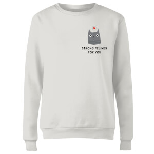 Sweat Femme Chat Strong Felines For You - Blanc