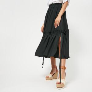See By Chloe Women's Midi Frill Detail Skirt - Black