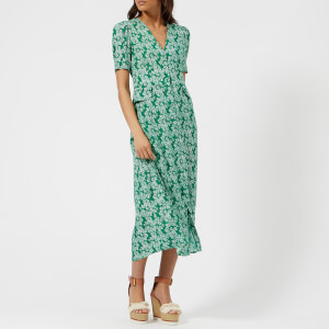 RIXO London Women's Jackson Midi Dress with Pocket Detail and Buttons - Daisy Dream/Green