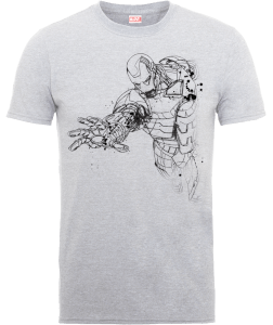 T-Shirt Marvel Avengers Assemble Iron Man Mono Sketch - Grigio