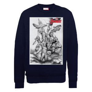 Marvel Avengers Assemble Team Sketch Sweatshirt - Black