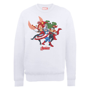 Marvel Avengers Assemble Comic Team Sweatshirt - White