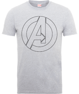 T-Shirt Marvel Avengers Assemble Captain America Outline Logo - Grigio