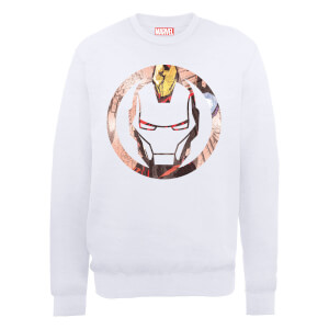 Sweat Homme Marvel Avengers Assemble - Iron Man Montage - Blanc