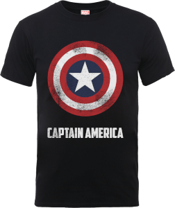 T-Shirt Marvel Avengers Assemble Captain America Shield Logo - Nero