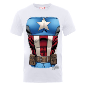 T-Shirt Marvel Avengers Assemble Captain America Chest - Bianco
