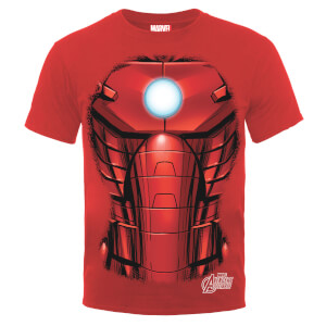 Marvel Avengers Assemble Iron Man Chest Burst T-Shirt - Rot