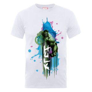 T-Shirt Marvel Avengers Assemble Hulk Art Burst - Bianco
