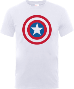 T-Shirt Homme Marvel Avengers Assemble - Captain America Simple Bouclier - Blanc