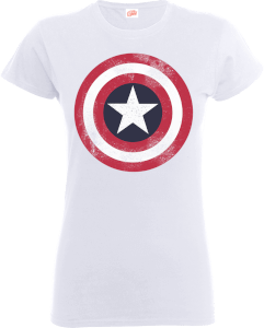 T-Shirt Marvel Avengers Assemble Captain America Distressed Shield - Bianco - Donna