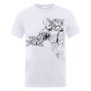 T-Shirt Marvel Avengers Assemble Iron Man Mono Sketch - Bianco