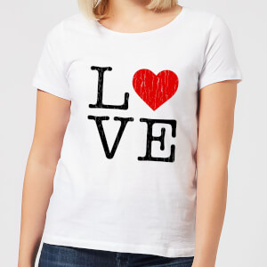 Love Heart Textured Women's T-Shirt - White