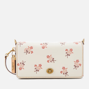 Coach Women's Floral Bow Print Dinky Cross Body Bag - Chalk