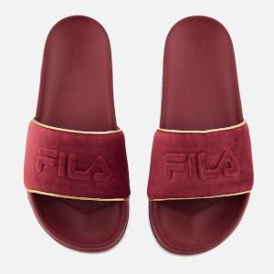 FILA Women's Drifter Border Velour Sliders - Red