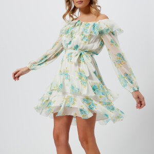 Zimmermann Women's Breeze Off Shoulder Dress - Teal Poppy Floral
