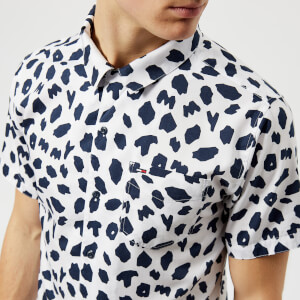 Tommy Jeans Men's Animal Print Camp Collar Short Sleeve Shirt - Animal Print Classic White