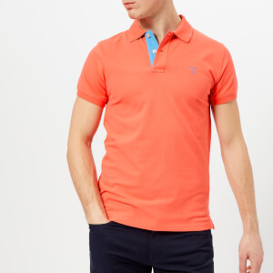 GANT Men's Contrast Collar Polo Shirt - Strong Coral