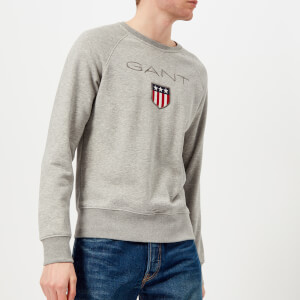 GANT Men's Shield Logo Crew Neck Sweatshirt - Grey Melange