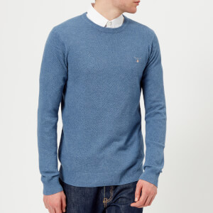 GANT Men's Cotton Pique Crew Neck Sweatshirt - Mid Denim Blue Melange