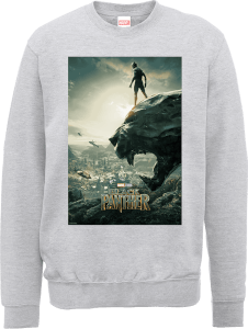 Sweat Homme Affiche Black Panther - Gris