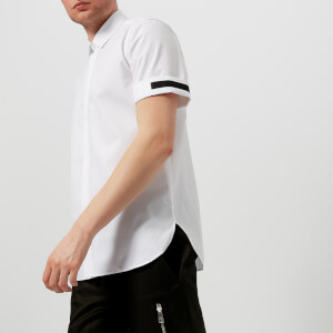 Neil Barrett Men's Short Roll Sleeve Tape Shirt - White/Black