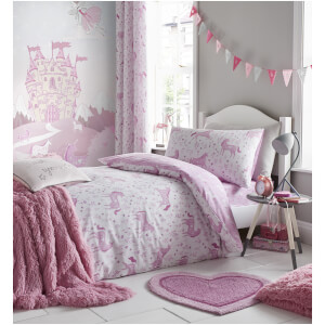 Catherine Lansfield Folk Unicorn Duvet Set - Pink