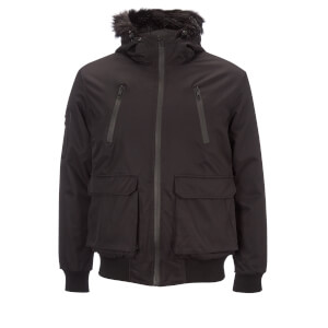 Brave Soul Men's Bradshaw Padded Bomber Jacket - Black
